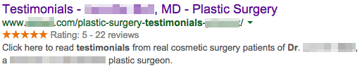 Cosmetic Surgeon's testimonial page using Schema.org
